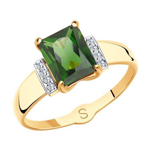 Кольцо из золота с зелёным ситаллом и фианитами