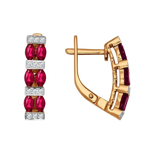 Серьги из золота с бриллиантами и рубинами (4020323) - фото