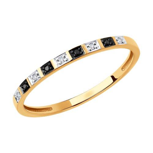 Кольцо из золота с бесцветными и чёрными бриллиантами (7010052) - фото