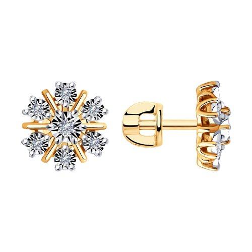 Серьги из комбинированного золота с бриллиантами (1021476) - фото