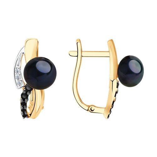 Серьги из золота с чёрным жемчугом и фианитами (792183) - фото