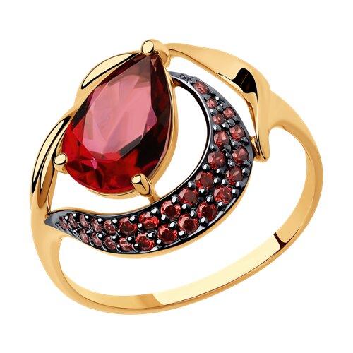Кольцо из золота с ситаллом и красными фианитами (714694) - фото