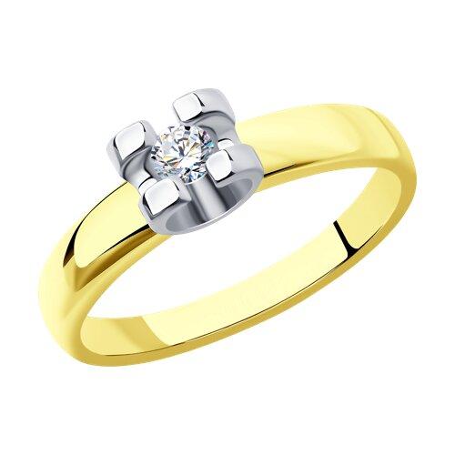 Кольцо из комбинированного золота с бриллиантом (1011679-2) - фото