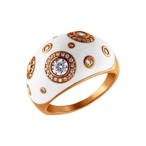 Позолоченные серебряное кольцо с эмалью SOKOLOV