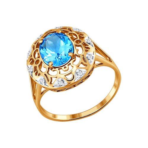 Кольцо из золота c топазом и фианитами