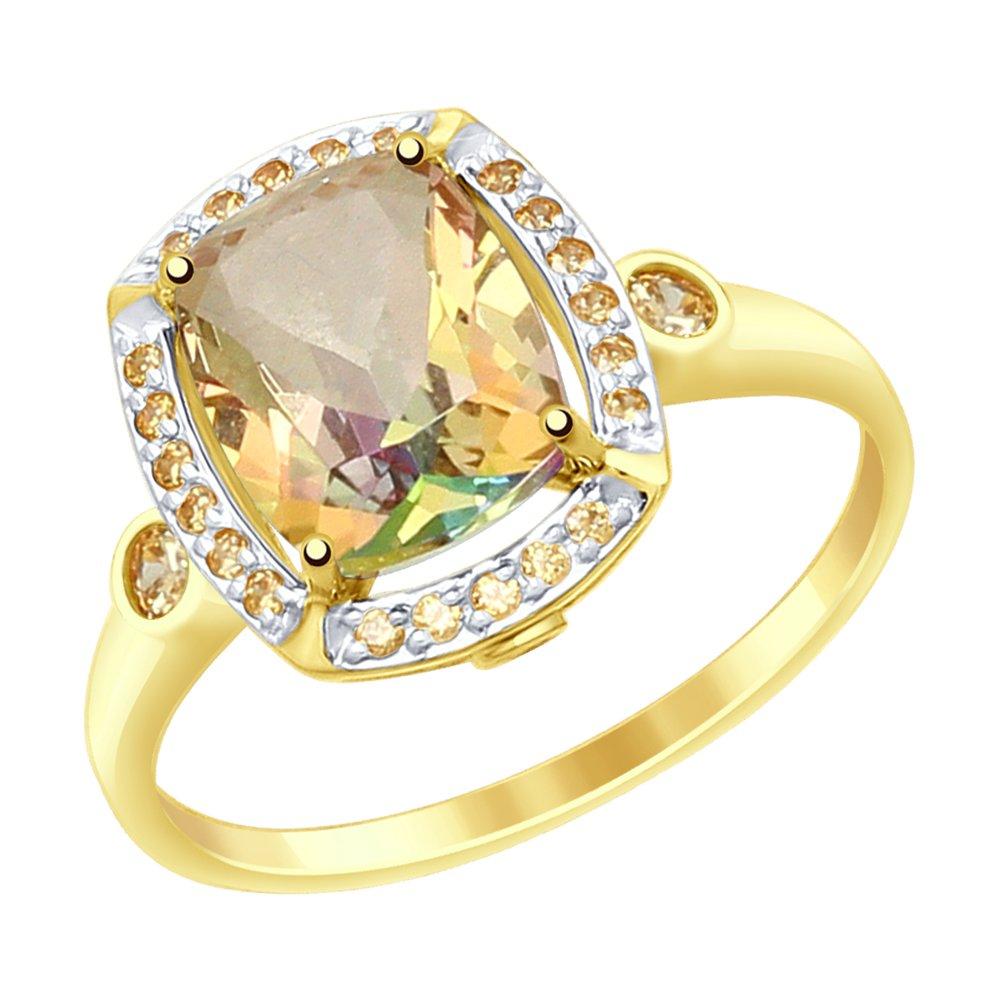Кольцо SOKOLOV из желтого золота с топазами Swarovski и фианитами Swarovski кольцо sokolov из золота с топазами swarovski