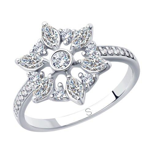 Кольцо из серебра с фианитами (94012852) - фото