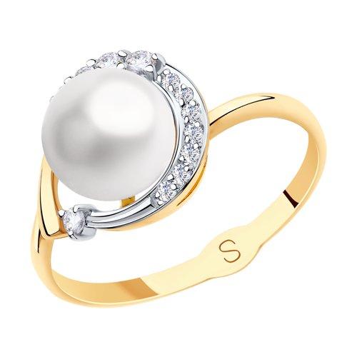 Кольцо из золота с жемчугом и фианитами 791149 SOKOLOV фото