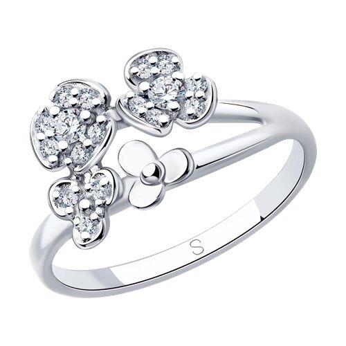 Кольцо из серебра с фианитами (94013041) - фото