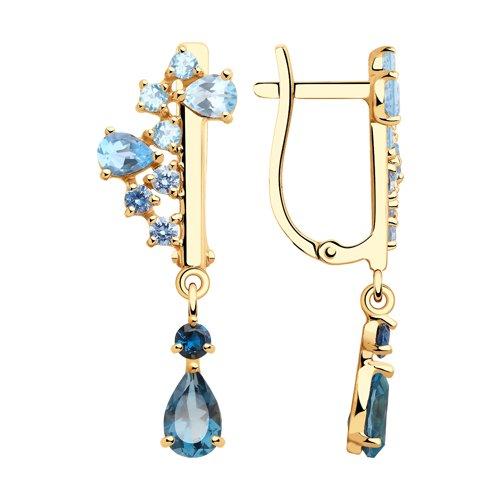 Серьги из золота с голубыми и синими топазами и фианитами
