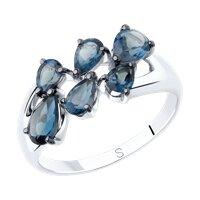 Кольцо из серебра с синими топазами