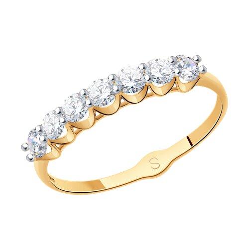 Кольцо из золота с фианитами (017833-4) - фото