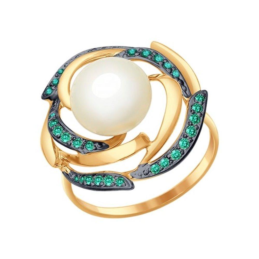 Кольцо SOKOLOV из золота с жемчугом и зелеными фианитами