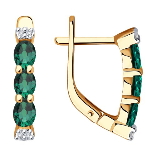 Серьги SOKOLOV из золота с бриллиантами и изумрудами серьги с изумрудами и бриллиантами из желтого золота valtera 67789