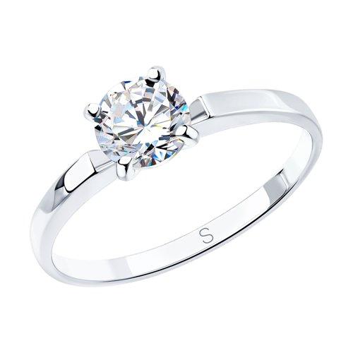 Помолвочное кольцо из белого золота со swarovski zirconia (81010002) - фото