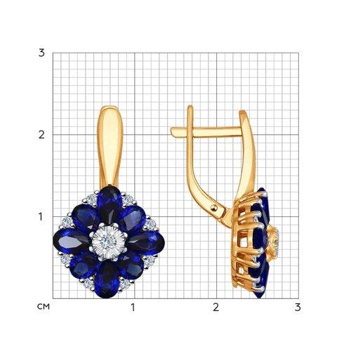 Серьги из золота с бриллиантами и корундами сапфировыми (синт.) (6022085) - фото №2