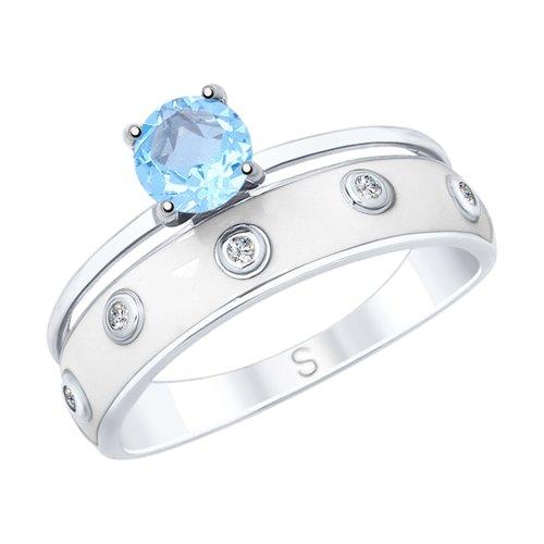 Кольцо из серебра с эмалью и топазом и фианитами (92011681) - фото