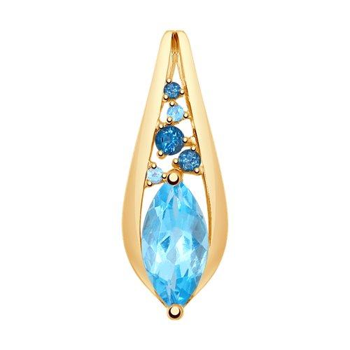 Подвеска из золота с голубыми и синими топазами