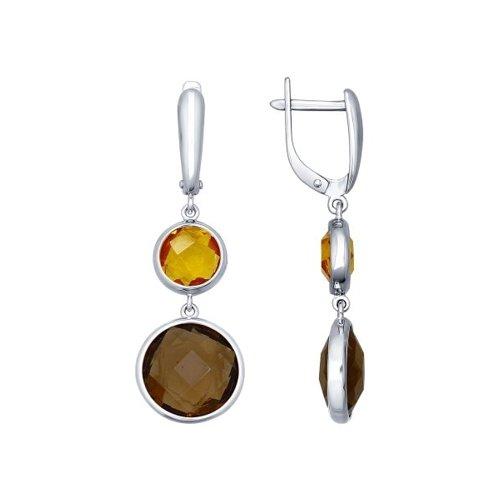 Серьги длинные из серебра с коричневыми и жёлтыми стеклянными вставками (94021778) - фото