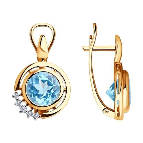 Серьги из золота с бриллиантами и топазами (6024109) - фото
