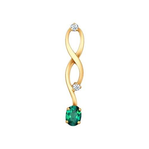 Подвеска SOKOLOV из золота с бриллиантами и изумрудом sargon jewelry подвеска с изумрудом и бриллиантами из жёлтого золота pm1344 2024