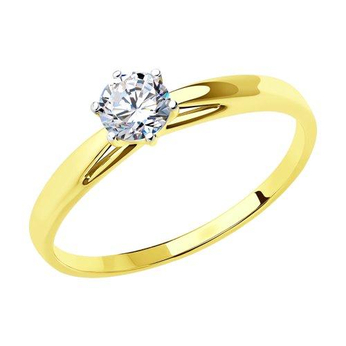 Кольцо из желтого золота со Swarovski Zirconia (81010209-2) - фото