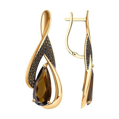 Серьги из золота с раухтопазами и жёлтыми фианитами (37725098) - фото