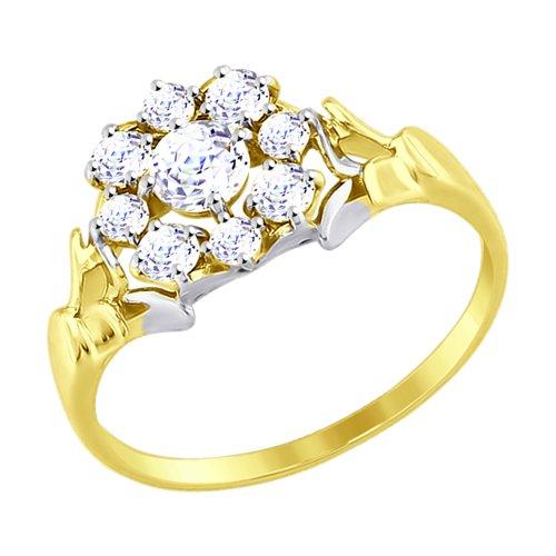 Кольцо из желтого золота со Swarovski Zirconia (81010319-2) - фото