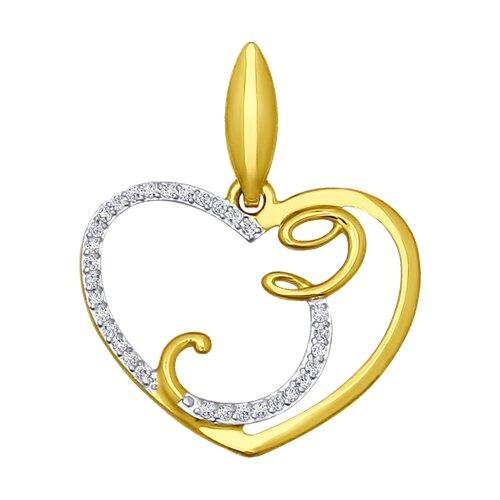 Подвеска буква З из желтого золота с фианитами