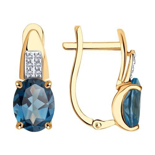 Серьги из золота с синими топазами и фианитами (725385) - фото