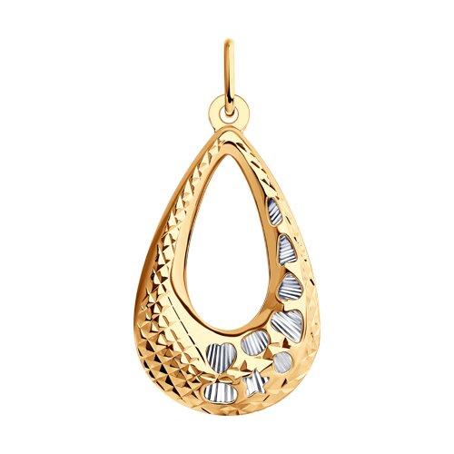 Подвеска из золота с алмазной гранью (034087) - фото