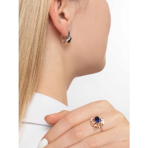 Серьги из золота с синими корунд (синт.) и бесцветными и синими фианитами 725101 SOKOLOV фото 5