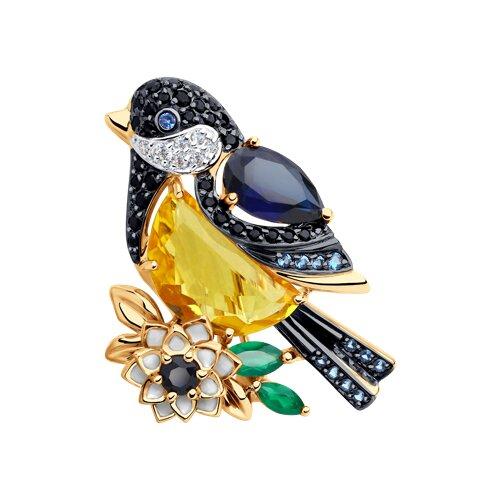 Брошь из золота «Синица» с миксом камней