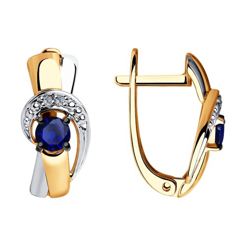 Серьги из золота с бриллиантами и синими корундами (6022146) - фото