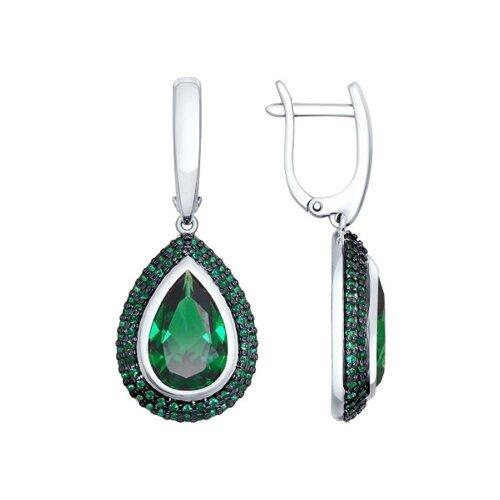 Серьги из серебра с зелёными ситаллами и  фианитами (92021469) - фото