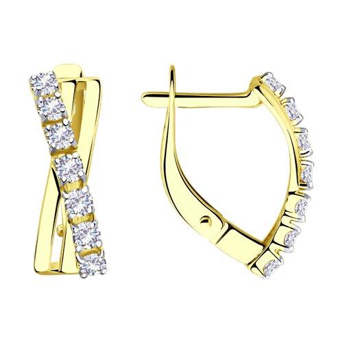 Серьги из желтого золота с фианитами (028189-2) - фото