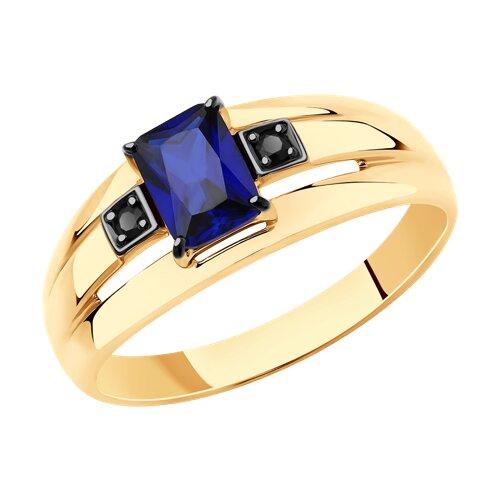Кольцо из золота с синим корунд (синт.) и фианитами (715723) - фото