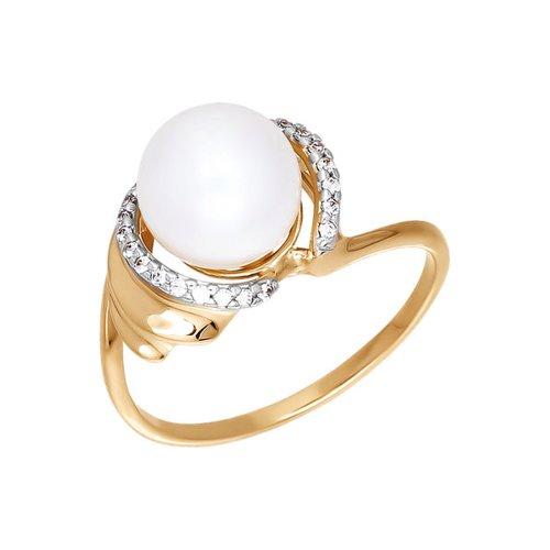 Кольцо из золота с жемчугом и фианитами