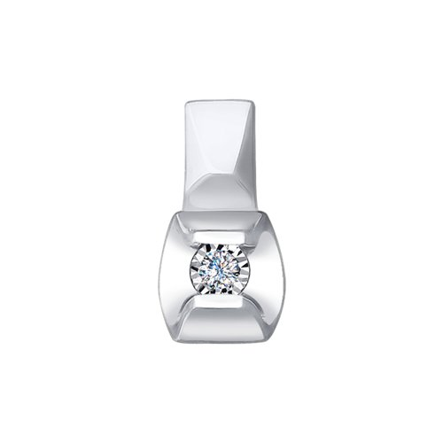 Подвеска из белого золота с алмазной гранью с бриллиантом (1030712) - фото