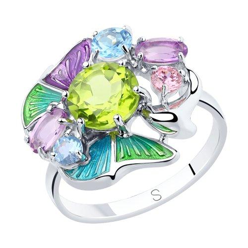 Кольцо из серебра с эмалью и миксом камней (92011839) - фото