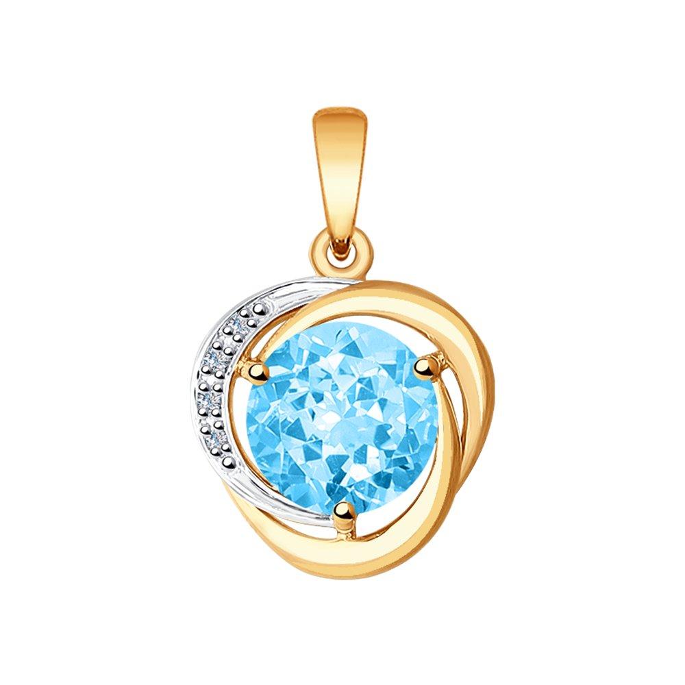 Подвеска SOKOLOV из золота с бриллиантами и топазом подвеска с топазом и бриллиантами из жёлтого золота