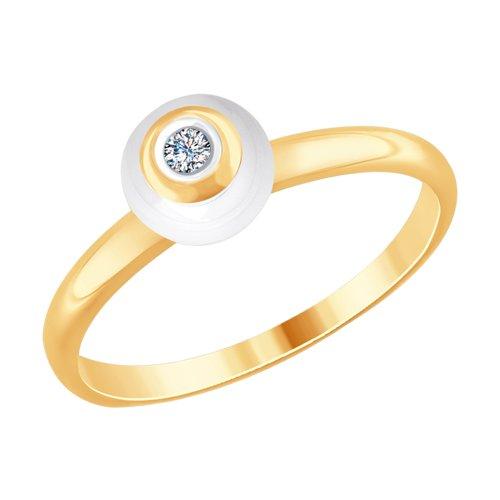 Золотое кольцо с бриллиантом и белой керамикой