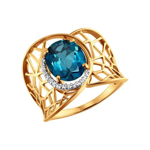 Широкое золотое кольцо с голубым топазом SOKOLOV ажурное кольцо с крупным голубым топазом sokolov