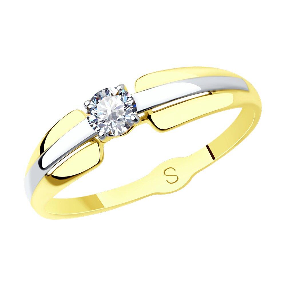 Кольцо SOKOLOV из желтого золота с фианитом фото