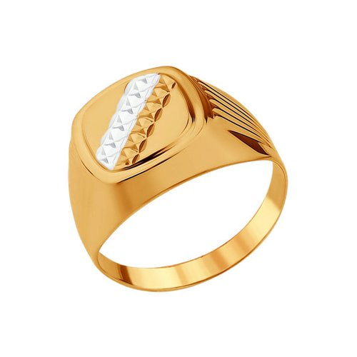 Печатка из золота с алмазной гранью (012781) - фото