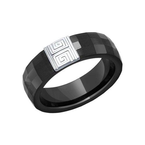 Кольцо из чёрной керамики с серебром