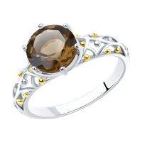 Кольцо из серебра с раухтопазом и золочением