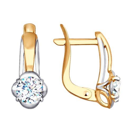Серьги из золота с фианитами (027586-4) - фото