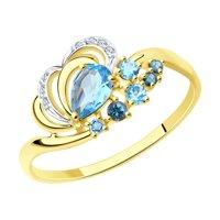 Кольцо из желтого золота с голубыми и синими топазами и фианитами
