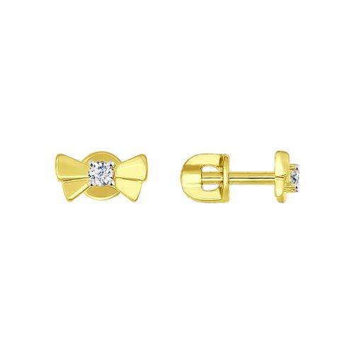 Серьги из желтого золота с фианитами (026940-2) - фото